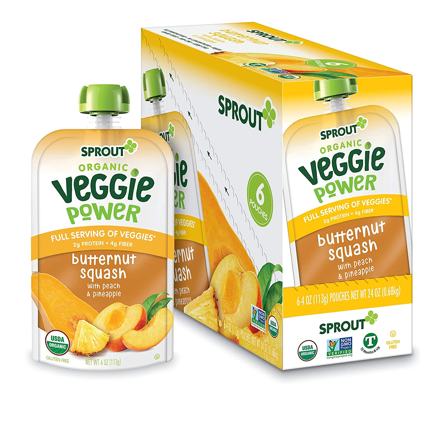 Sprout Organic Baby Food, Stage 4 Toddler Pouches, Butternut Squash Veggie Power Pack, 4 Oz Purees (Pack of 12)