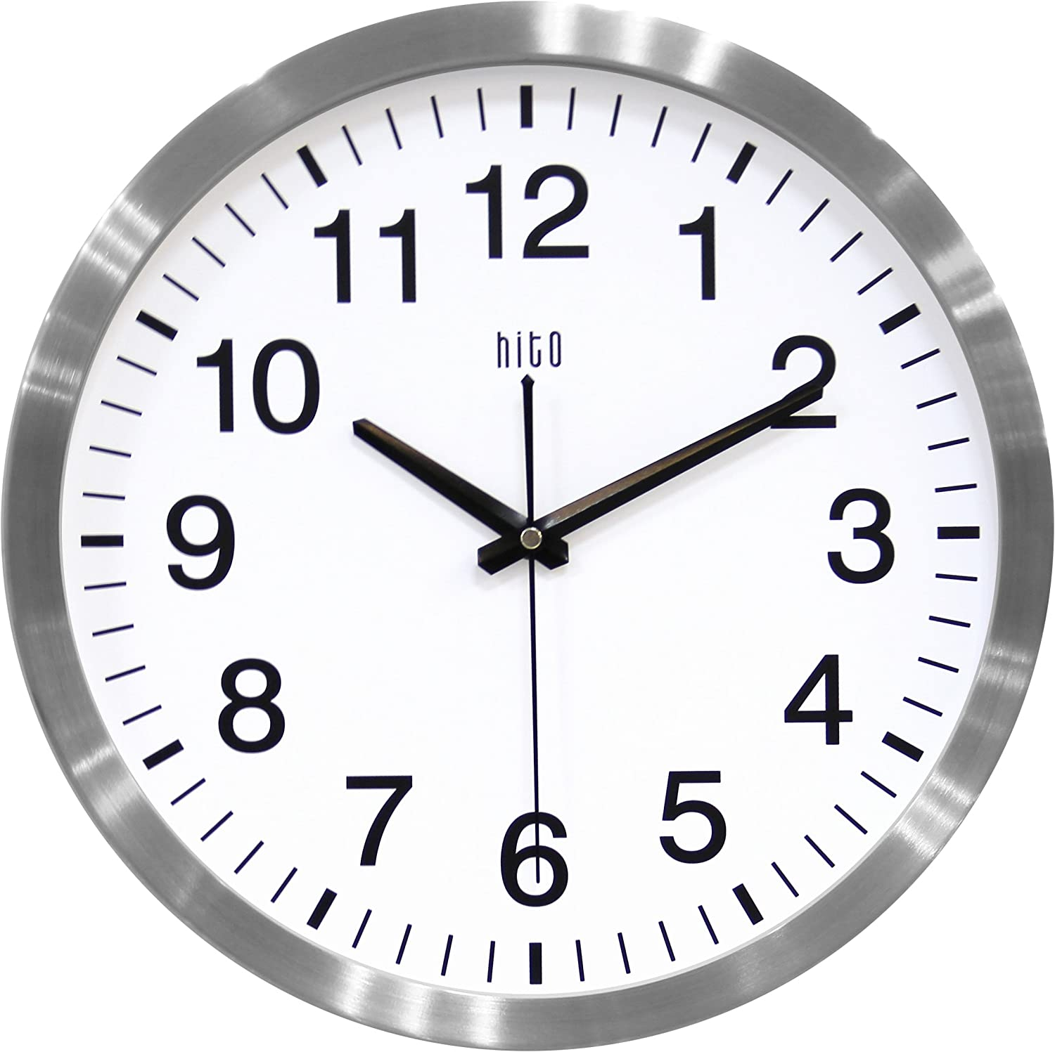 Amazon Com Hito Silent Wall Clock Non Ticking 14 Inch Large Oversized Excellent Accurate Sweep Movement Aluminum Frame Decorative For Kitchen Living Room Bedroom Office Classroom Silver Kitchen Dining