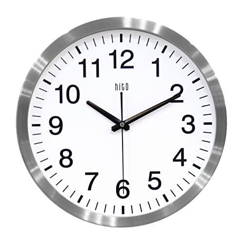 hito Silent Wall Clock Non Ticking 14 inch Large Oversized Excellent Accurate Sweep Movement Aluminum Frame, Decorative for Kitchen, Living Room, Bedroom, Office, Classroom Silver