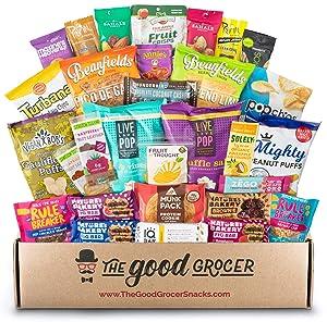 Deluxe VEGAN Snacks Care Package: Delicious Vegan Jerky, Snack Bars, Protein Cookies, Vegan Puffs, Nuts, Healthy Gift Basket Alternative, Snack Variety Pack (Deluxe Vegan, 30)