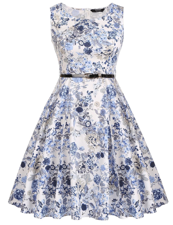 3ac10ab0383a Amazon.com: ACEVOG Cocktail Dress 1950's Floral Vintage Party Dress Plus  Size: Clothing
