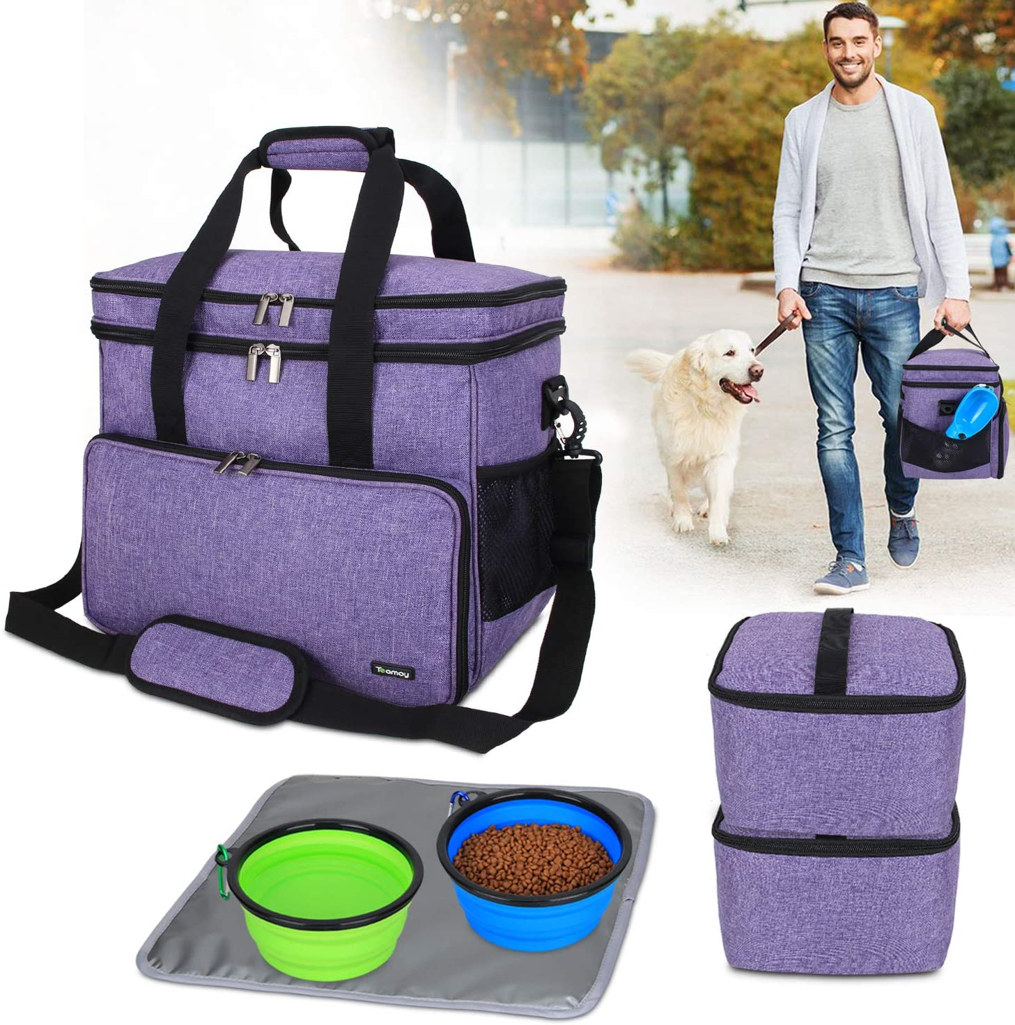 Teamoy Double Layer Dog Travel Bag with 2 Silicone Collapsible Bowls, 2 Food Carriers, 1 Water-Resistant Placemat, Pet Supplies Weekend Tote Organizer