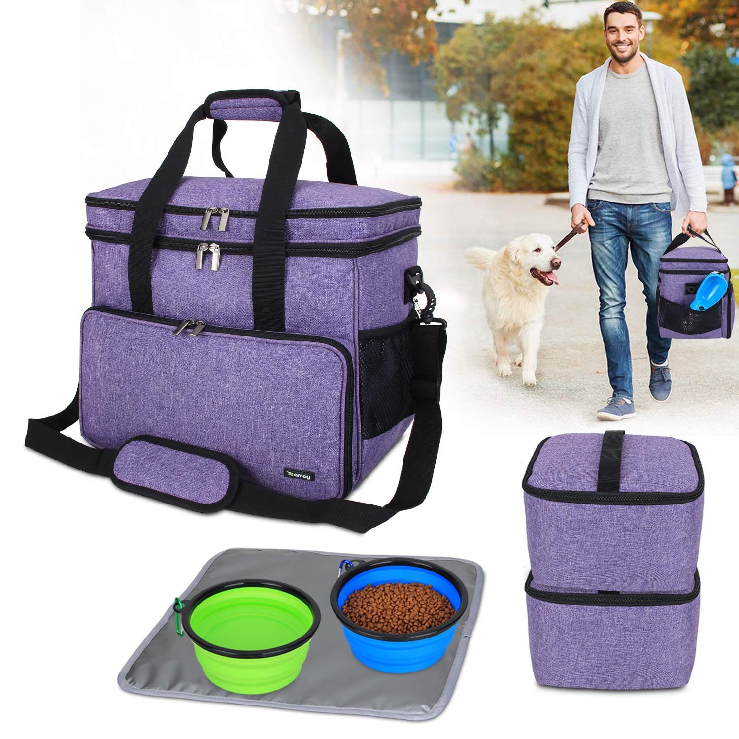 Teamoy Double Layer Dog Travel Bag with 2 Silicone Collapsible Bowls, 2 Food Carriers, 1 Water-Resistant Placemat, Pet Supplies Weekend Tote Organizer(Large, Purple) by Teamoy
