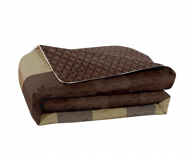 poli/éster 240 x 260 cm marr/ón DecoKing Colcha marr/ón Beige Colcha zweiseitig F/ácil Cuadros Chocolate Brown Hypnosis Collection Arthur