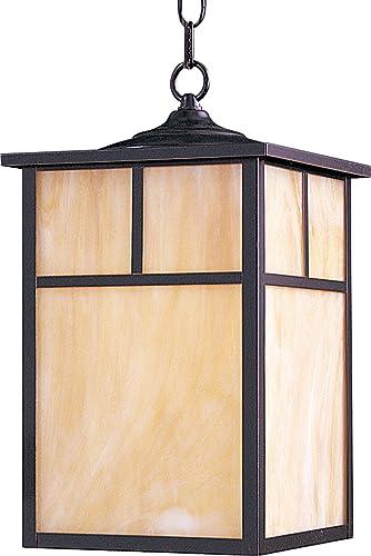 Maxim 4058HOBU Coldwater Mission Style Honey Glass Outdoor Pendant Hanging Lantern, 1-Light 16 Watt, 15 H x 9 W, Burnished