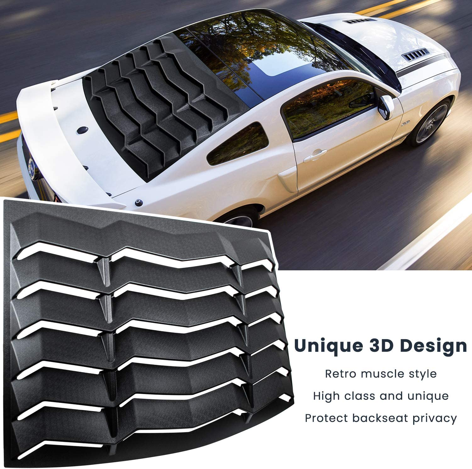 E-cowlboy Rear Window Louver Windshield Sun Shade Cover for Ford Mustang 2005-2014 in GT Lambo Style Custom Fit All Weather ABS Matte Black