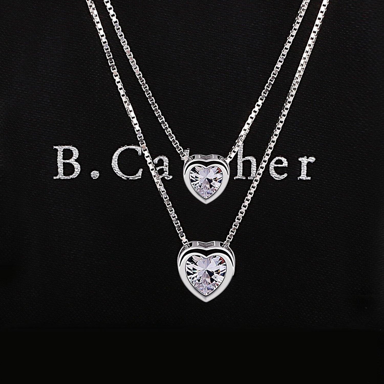 B.Catcher Herz Kette Damen Halskette 925 Sterling Silber Lebhaft Herz  Schmuck 45CM Kettenlänge Geschenk 85eb61e5d4