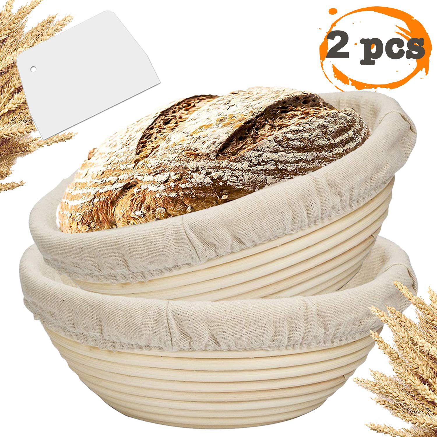 Farielyn-X 2 Packs 9 Inch Bread Banneton Proofing Basket - Baking Dough Bowl Gifts for Bakers Proving Baskets for Sourdough Lame Bread Slashing Scraper Tool Starter Jar Proofing Box