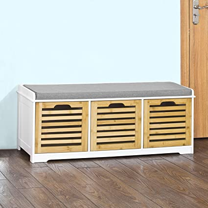 Haotian FSR23 WN, Storage Bench With 3 Crates, Shoe Cabinet Shoe Bench With