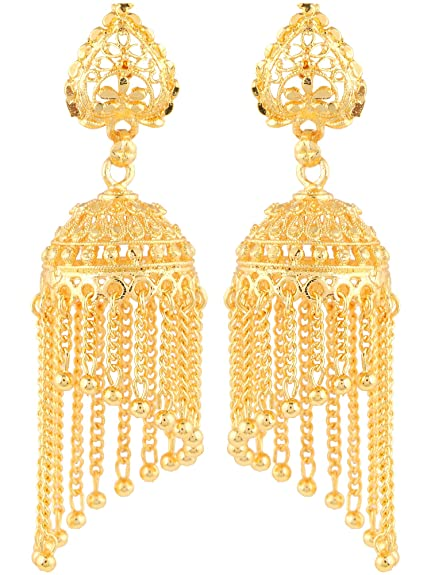 d4fee54df Buy Shining Jewel Gold Brass Jhumki Earrings For Women Online at Low Prices  in India | Amazon Jewellery Store - Amazon.in