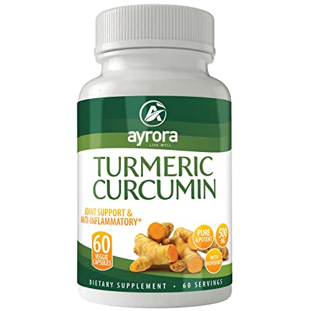 Turmeric Curcumin with Bioperine Joint Pain Relief – Natural Anti-Inflammatory Antioxidant Supplement 60 Capsules with 5mg of Black Pepper Extract for Best Absorption, Benefits for your Body and Brain