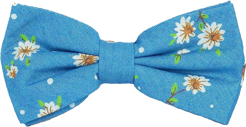 FLIEGENFAENGER hellblaue Herren Fliege mit Blumen Muster gebunden und verstellbar inkl Geschenkbox kombinierbar mit Hosentr/äger /& Einstecktuch