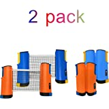 JP WinLook Ping Pong Net - 2 Pack Retractable Table Tennis Net and Post Set Replacement, Adjustable Portable Anywhere on Almost Any Table, Indoor Outdoor, Plastic Bracket Clamps, Travel Holder Bag