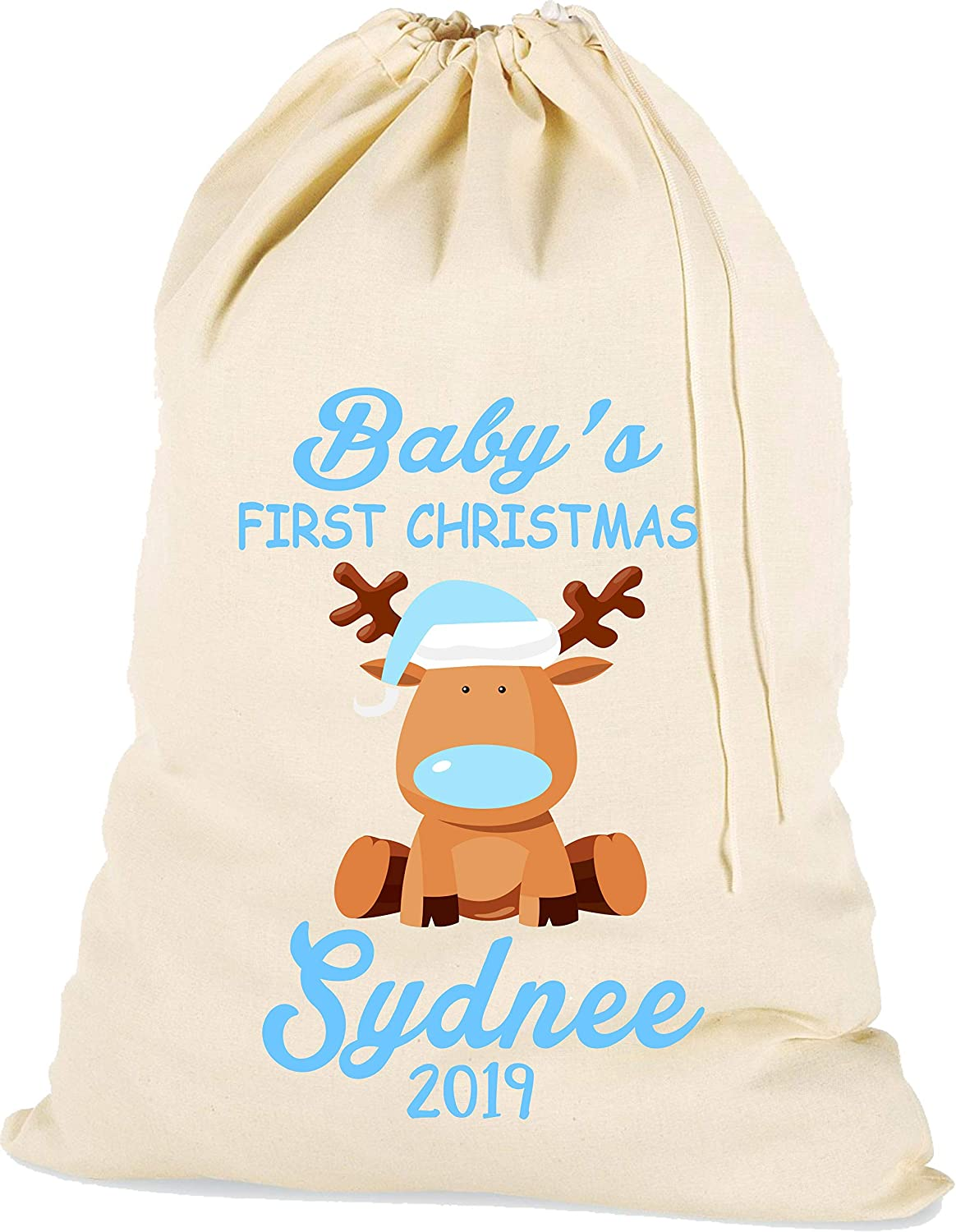 The Lazy Cow Personalised Baby First Christmas Santa Sack in BLUE Cotton Drawstring Gift Bag blue