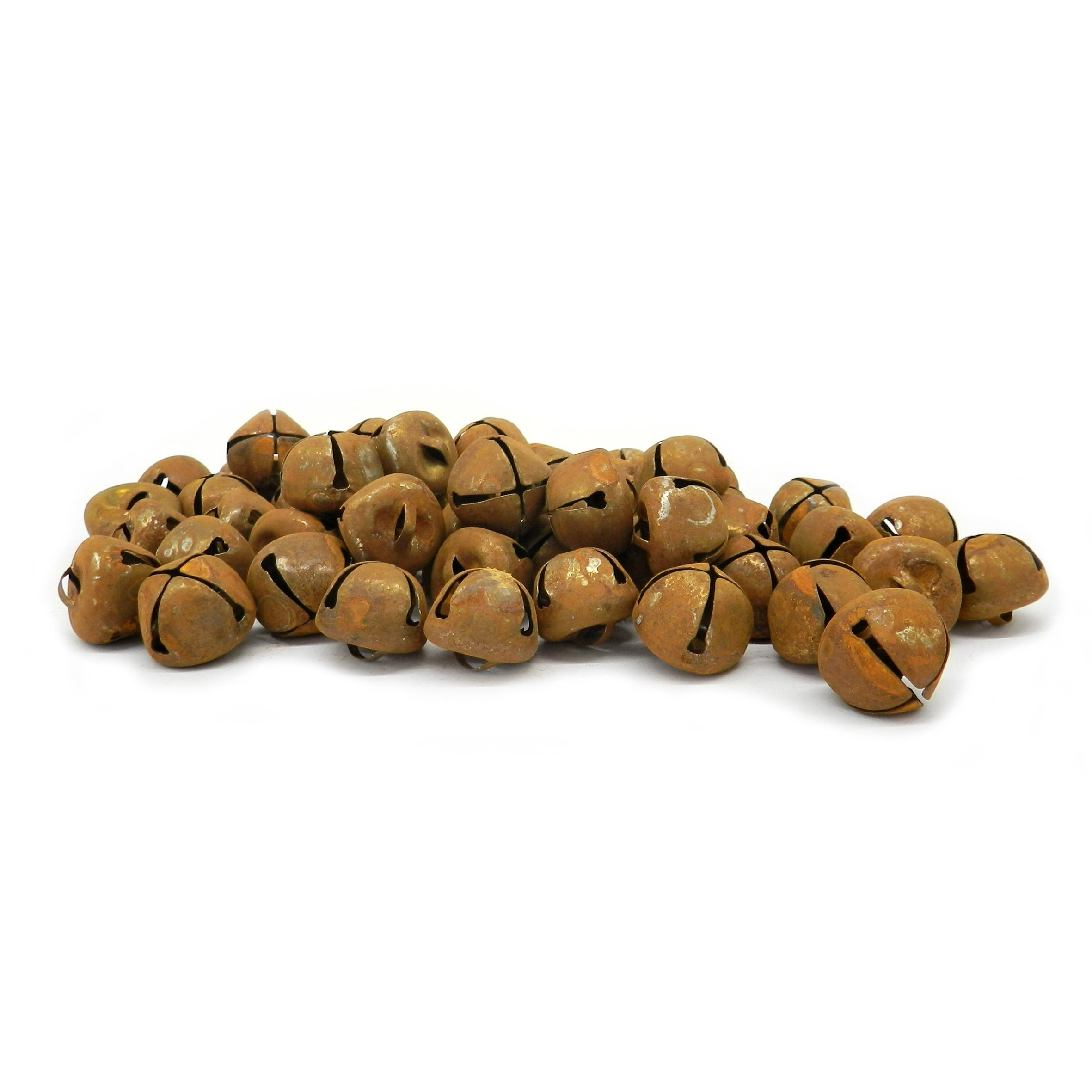 CVHOMEDECO. Vintage Primitive Craft Rusty Tin Jingle Bells for Crafting, Designing and Decorating, 3/4'', Packages of 50.