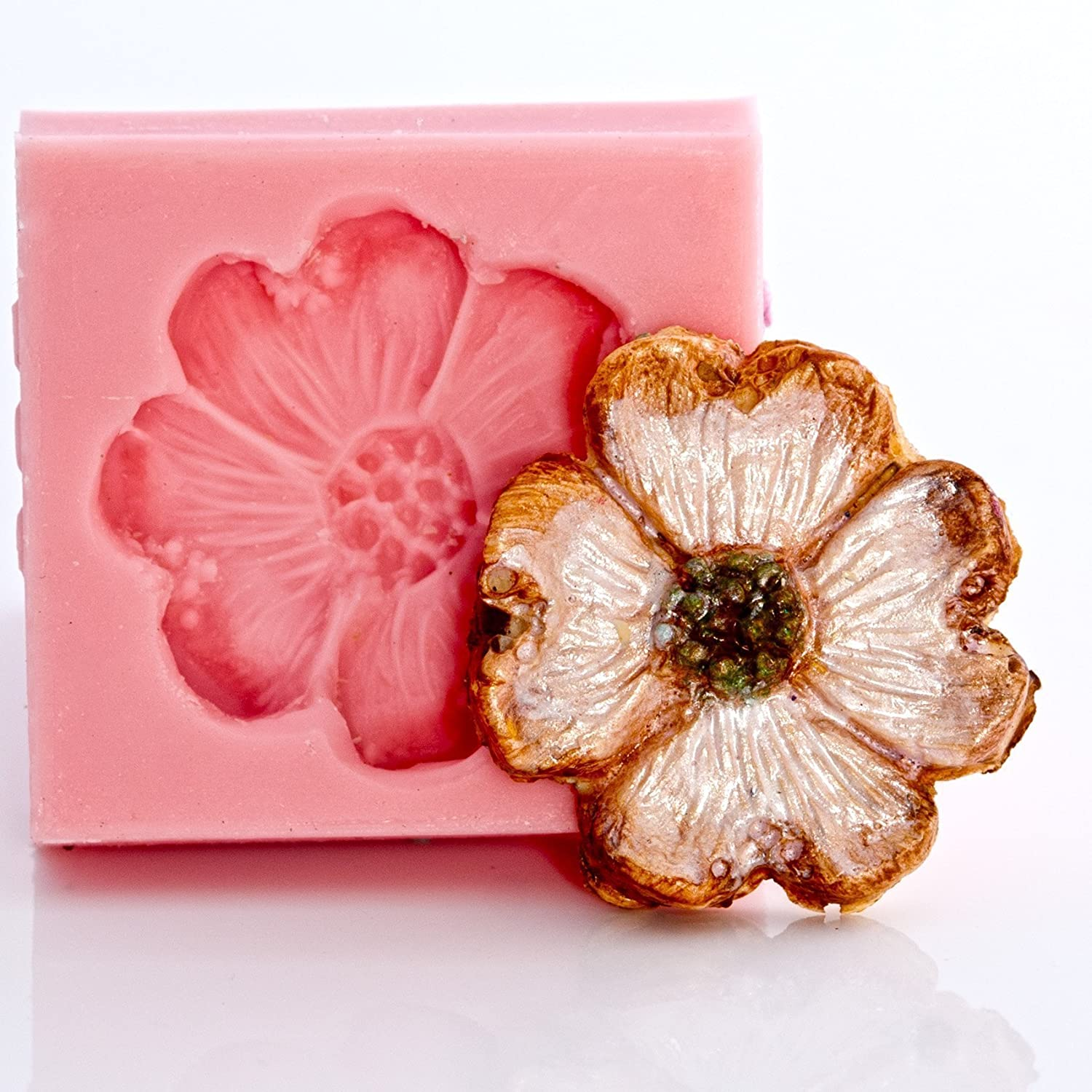 Dogwood Flower Silicone Mold Food Safe Fondant, Chocolate, Candy, Resin, Polymer Clay, Jewelry, Craft Mold. Flexible and easy to use.