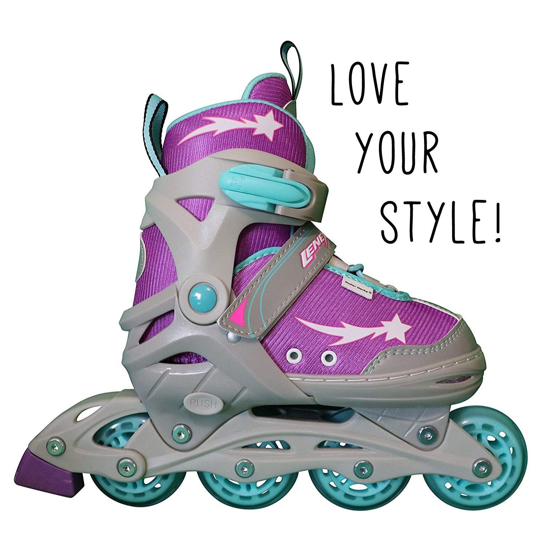 Lenexa Athena Kids Rollerblades - Adjustable Comfortable Inline Skates for Children Purple//Grey//Blue Girl//Girls, Boy//Boys Patines Roller Blades for a Kid