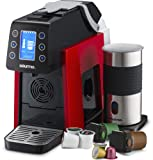 Gourmia GCM5000R One Touch K-Cup & Espresso Capsule Coffee Machine, Compatible With Nespresso and K-Cup & More, Built In Milk Frother, Adjustable Temperature & Size, Digital Display - Red
