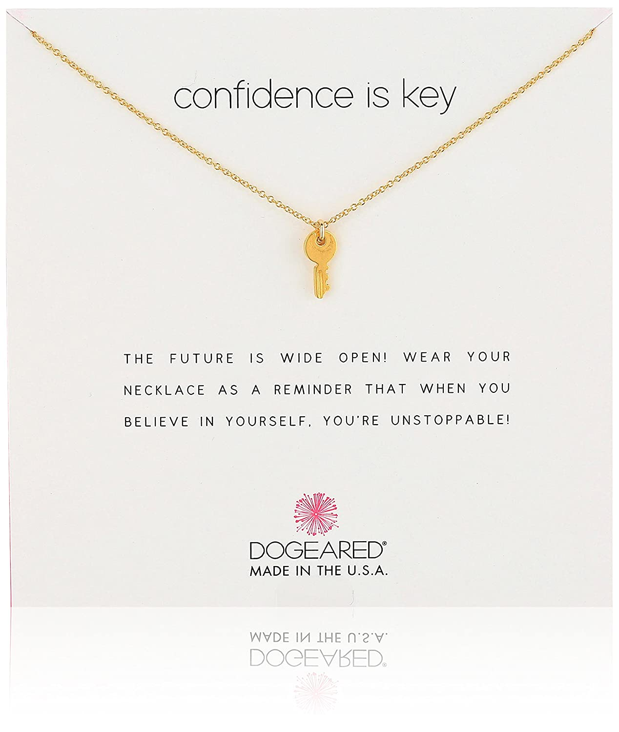 Dogeared Reminders Confidence Is Key Cute Pendant Necklace, 18 16+2 Extender MG1119