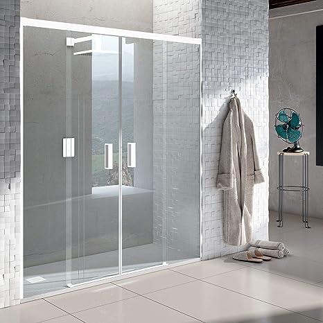 VAROBATH .Mampara de ducha con apertura frontal de puertas correderas, perfil BLANCO y cristal transparente con 6 mm de grosor. Disponible en varias medidas. (178 a 186): Amazon.es: Bricolaje y herramientas