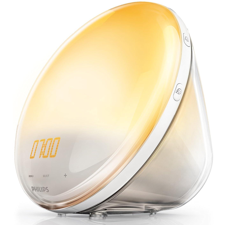 Philips Despertador HF3531/01 - Despertador de Luz lez, Radio FM, Simulación del Amanecer y del Atardecer, 7 Sonidos Naturales, 1 Alarma, Cargador USB para Movil, 300 Lux, Blanco