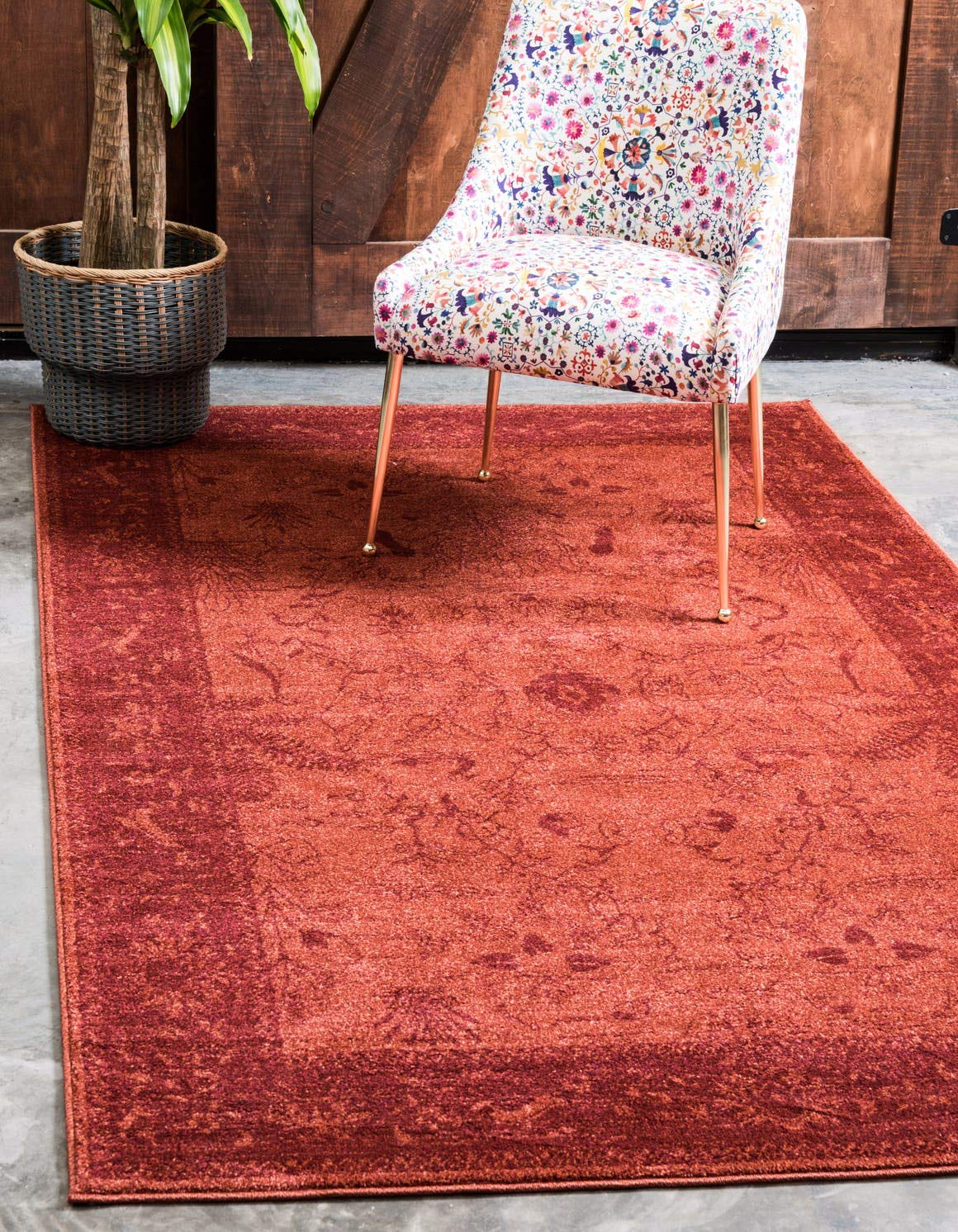 Unique Loom La Jolla Collection Tone-on-Tone Traditional Rust Red Area Rug 6 0 x 9 0
