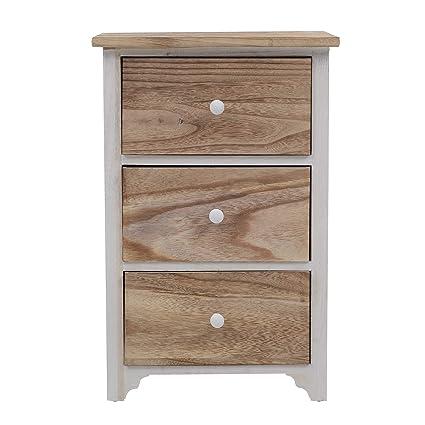rebecca mobili - Mesita mesilla mesa de noche cajonera 3 cajones marron blanca rustico minimal (Cod. RE4460)