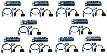 10x USB3.0 1x to16x Adapter Extender Riser Card 6 PIN Cable PCI-E Express Mining