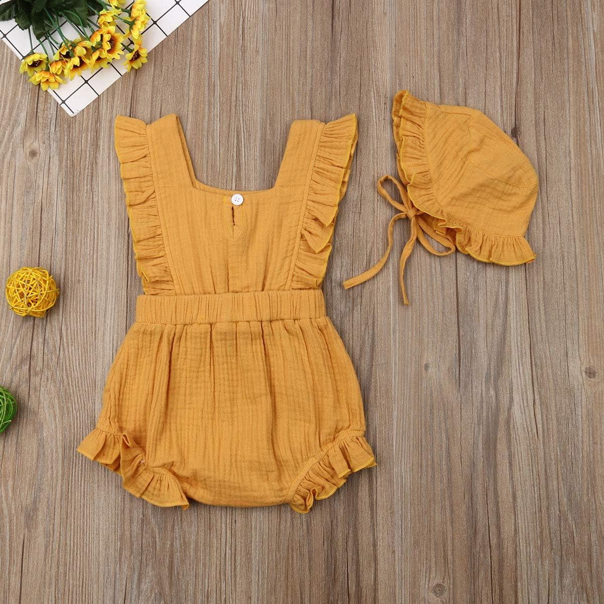 WangsCanis Baby Body Strampler Kurzarm M/ädchen 2tlg Bekleidungssets Baumwolle Leinen R/üschen Spielanzug mit S/äugling H/üte