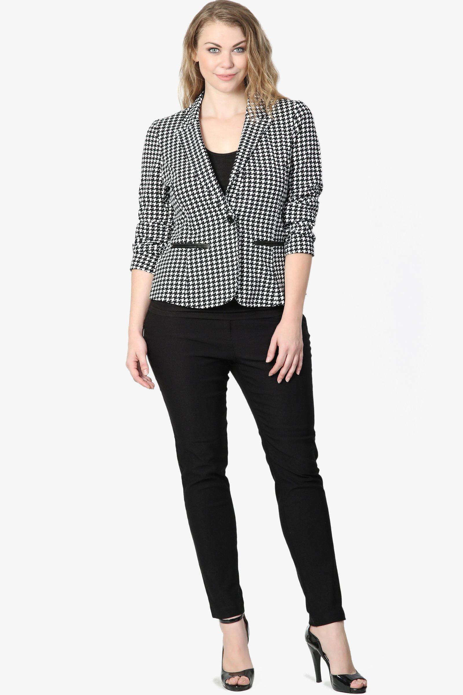 TheMogan Junior's Checker Faux Leather Pocket Slim Fit Blazer Jacket Black 1XL by TheMogan (Image #6)