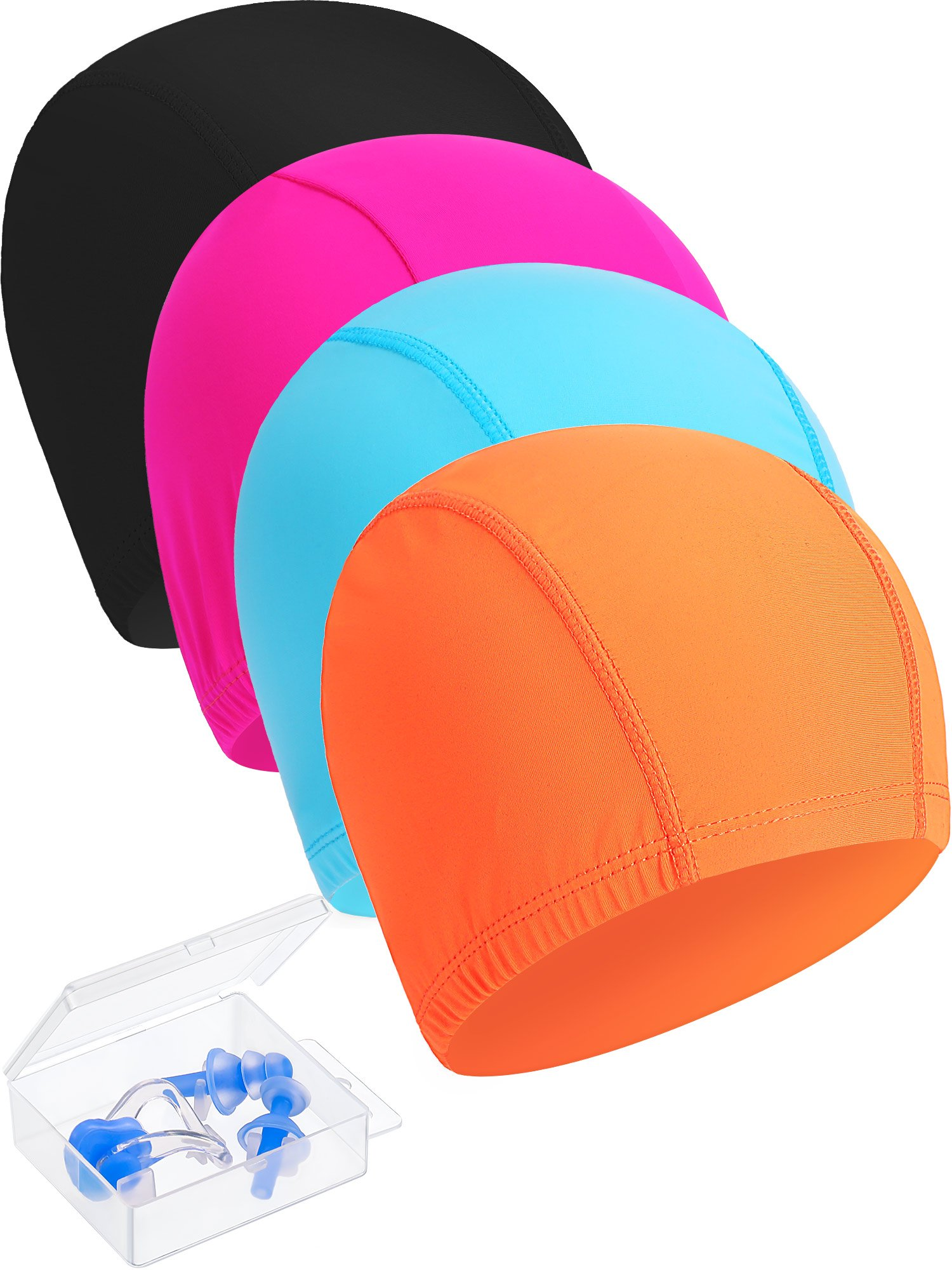 Maxdot 4 Pieces Swimming Caps, Come with 1 Nose Clip and 2 Ear Plug, Durable Elastic Long Hair Swim Caps for Kids, Women, Men