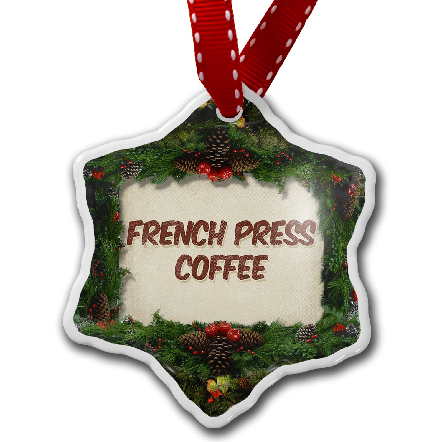 Amazon.com: Christmas Ornament French Press Coffee, Vintage style ...