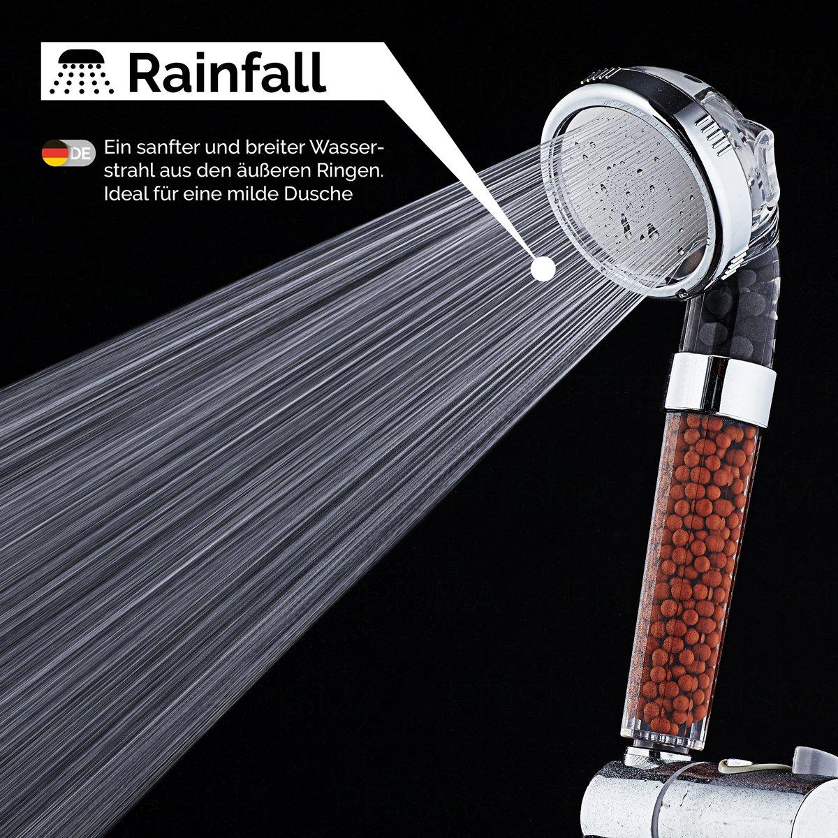 PRISMA® Premium Duschkopf Handbrause wassersparend mit Druckerhöhung für mehr Wasserdruck - Brausekopf für Niederdruck geeignet - Regendusche und Massage Funktion - Mit Kalkfilter und Ionenfilter