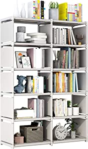 Yomeliy Cube Storage, 5 Tier 10 Cubes Organizer Shelves, Bookcase Shelve for Living Room, Study Room, Bedroom and Office (Gray)