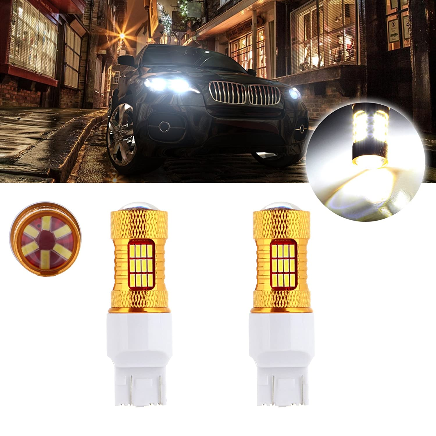 cciyu 7443 60W Xenon White Cree LED 54 4014 SMD Bulb Replacement fit for Reverse Backup Light,2 Pack