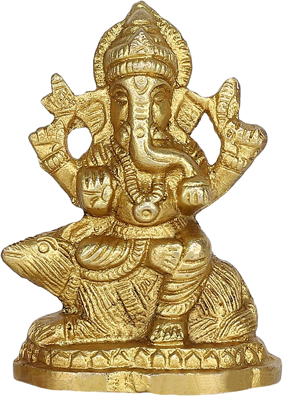 GURU JEE Brass Idol for Puja Room Decoration Lord Ganesha Ganpati Ji Murti Religious Gifts