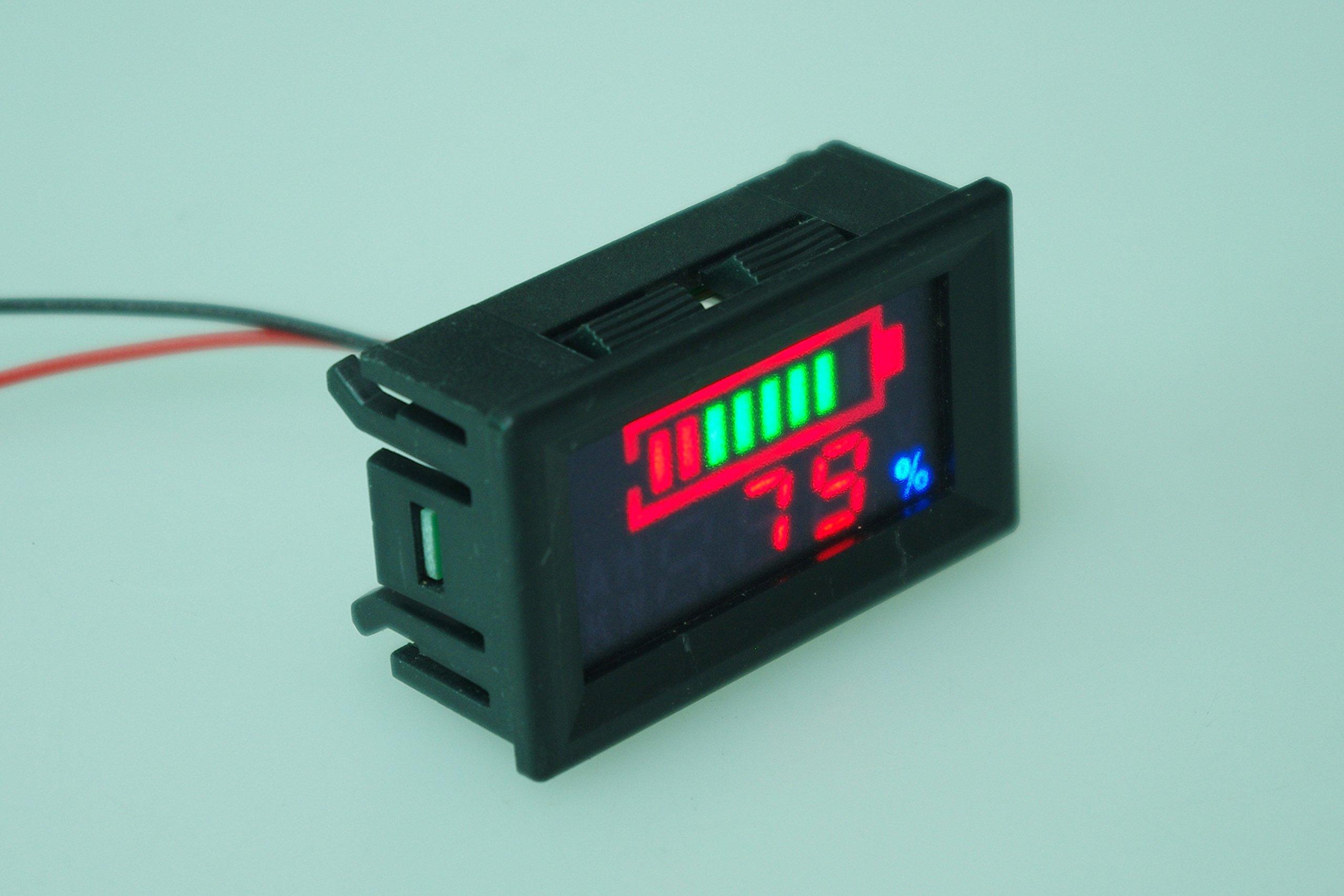 SMAKN® DC 12v 24V 36V 48V 60V 72V 96V Acid lead batteries percentage capacity indicator LED Tester voltmeter(Default 48v)