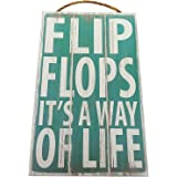 Flip Flops It's A Way Of Life Vintage Wood Sign For Beach House Wall Decor Or Gift -- PERFECT BEACH HOUSE DECOR!