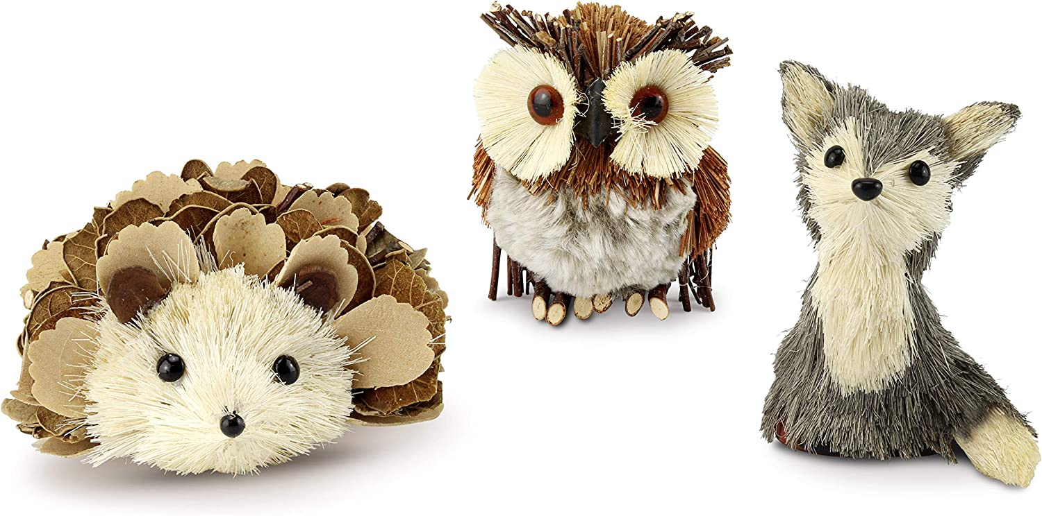 AuldHome Woodland Friends Figurines (Set of 3); Forest Animals Decor for Fall, Christmas, Winter and Themed Decor or Parties