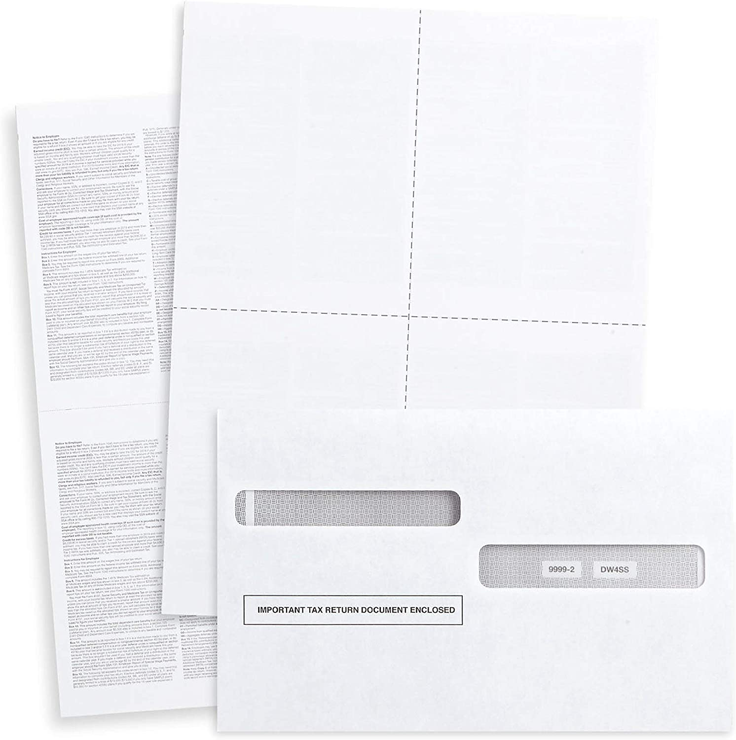 Blank 2020 W2 4 Up Tax Forms, 100 Employee Sets, Compatible with QuickBooks Online, Ideal for E-Filing, Works with Laser or Inkjet Printers, 100 Sheets and 100 Self Seal Envelopes : Office Products