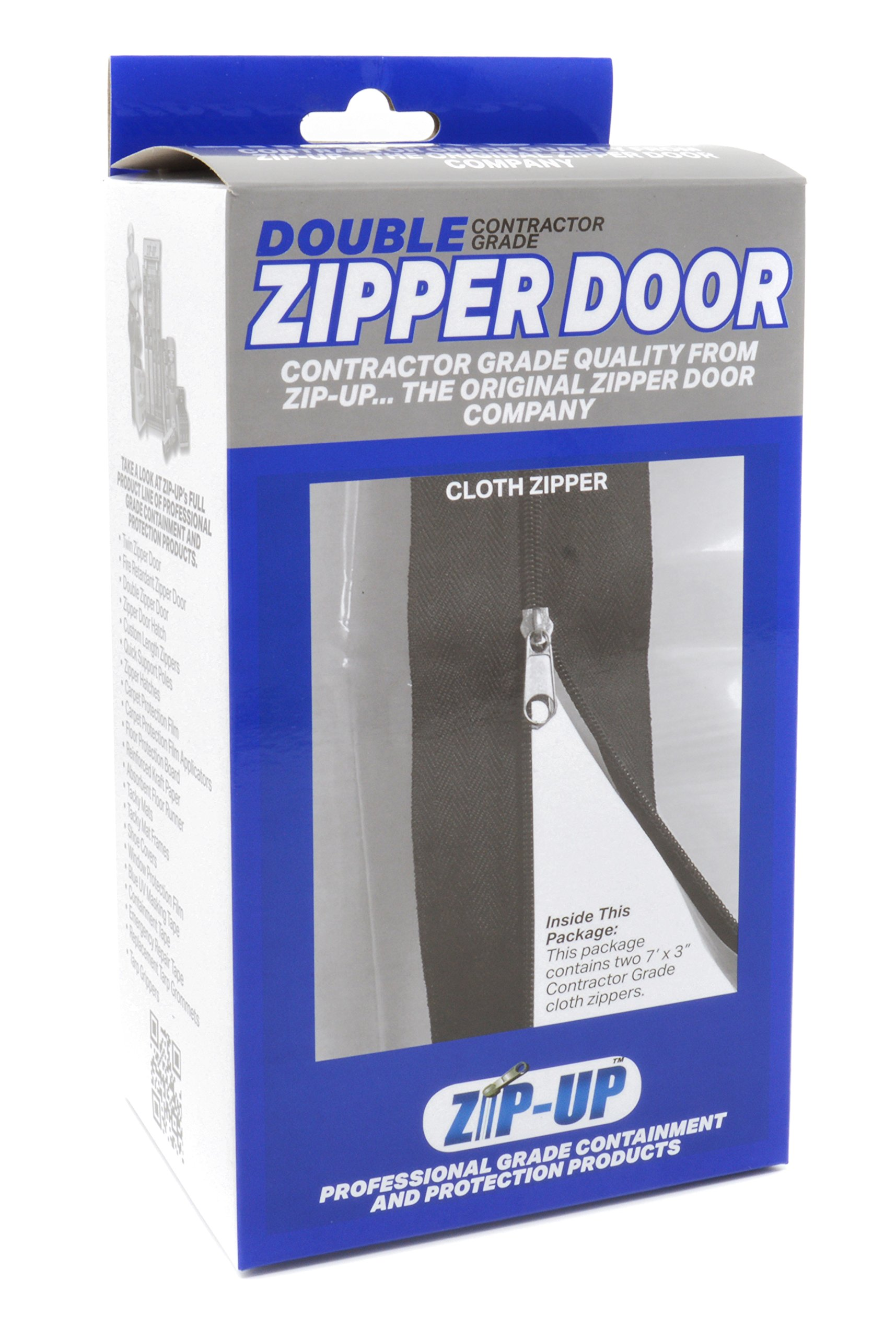 Zip-Up Products Air-Tight Twin Zipper Door - 84'' x 3'' 2 Pack For Jobsite Dust Containment with Heavy Duty 3 Inch Cloth Webbing & Peel & Stick Backing - ZIP7.3BCL