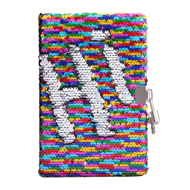 Sequin Notebook - PojoTech Mermaid Reversible Sequin Journal – Magic Travel Journal Notebook Gift Adults Kids (Rainbow-Silver Lock)