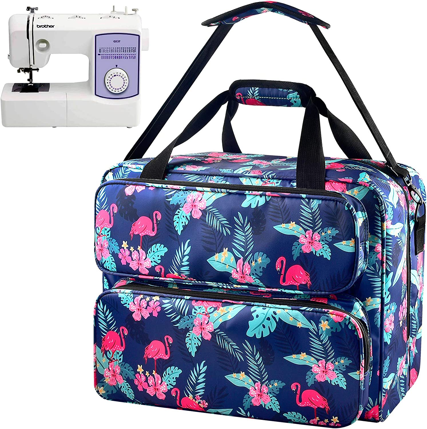 Sewing Machine Bag E-More Sewing Machine Carrying Case Portable Sewing Machine Tote Bag with Removable Padding Pad Storage Bag with A Large Capacity for Most Sewing Machines