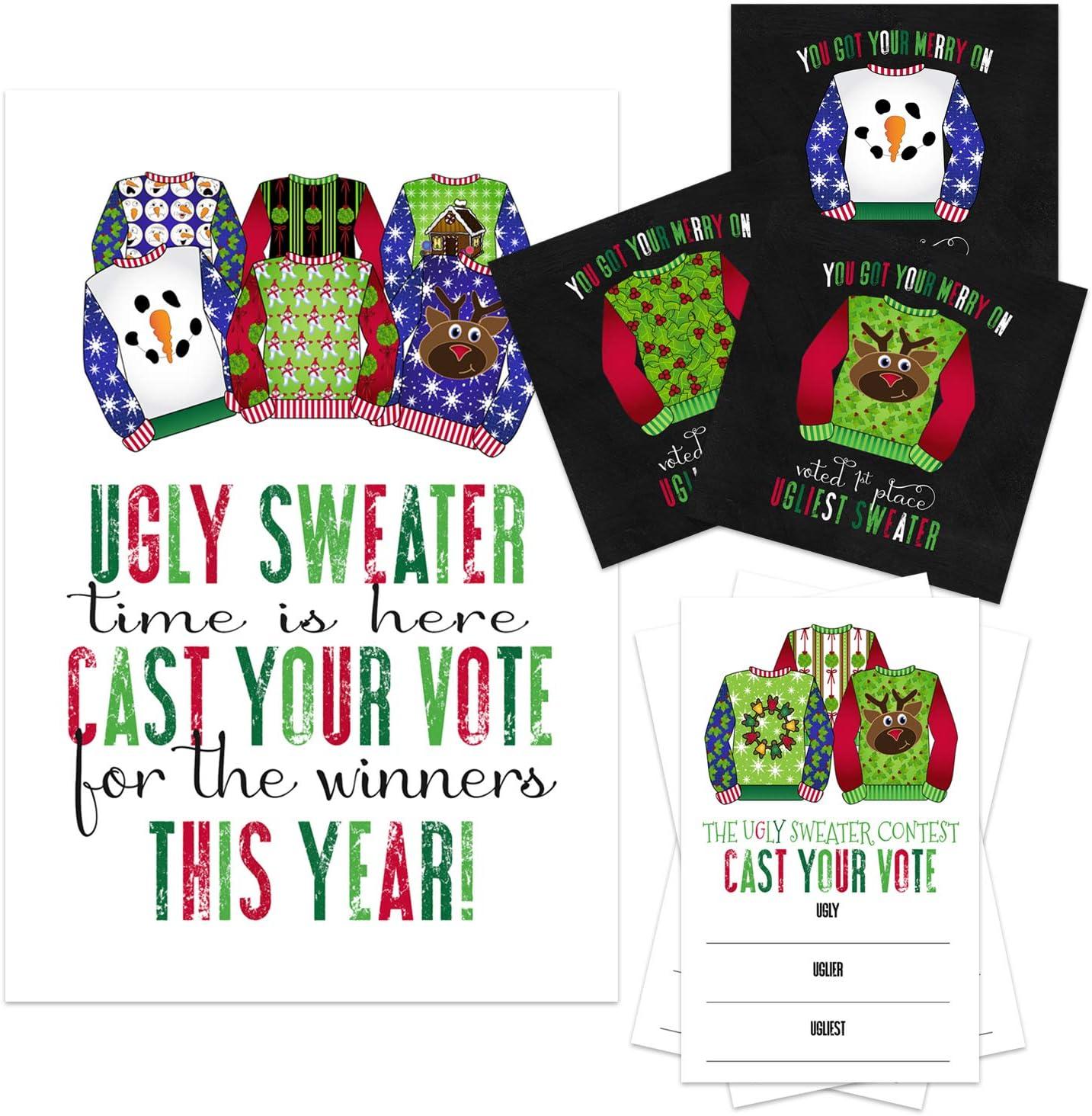 Suministros para fiestas de suéter feo, juegos de Navidad, incluye tarjetas de voto, cartel y pegatinas para ganadores multiusos: Amazon.es: Salud y cuidado personal