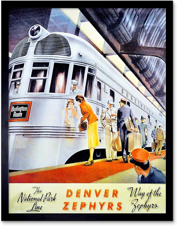 TRAVEL RAIL TRAIN DENVER ZEPHYR NATIONAL PARK LINE STATION USA POSTER BB10084