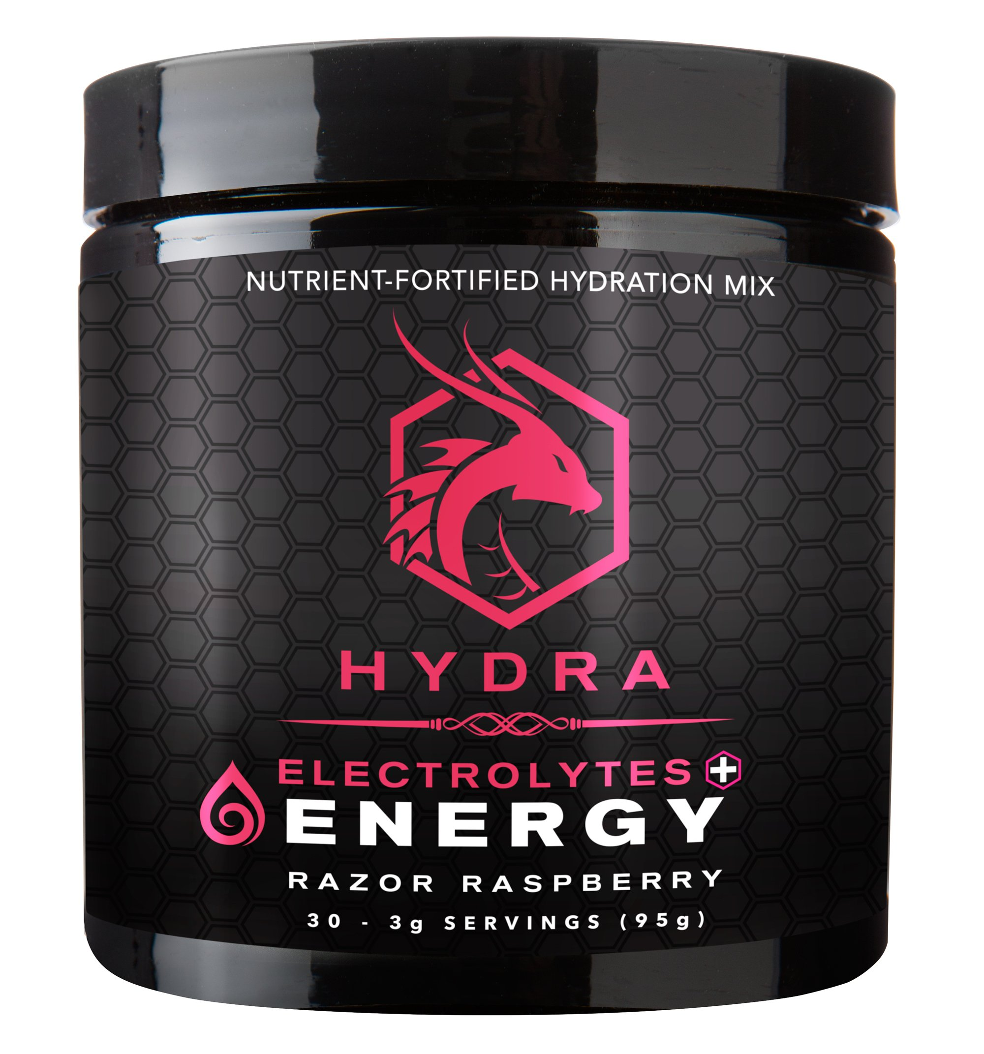 HYDRA: LEGENDARY HYDRATION Drink + Electrolytes, 30 Servings (Razor Raspberry, 30 Servings (20 oz servings))