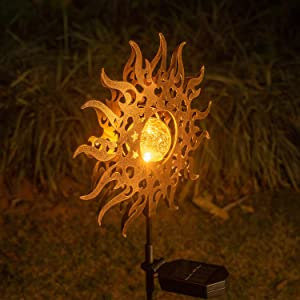 Solar Lights Outdoor Garden,Waterproof Metal Sun Decorative Stakes for Walkway,Yard,Lawn,Patio Decor