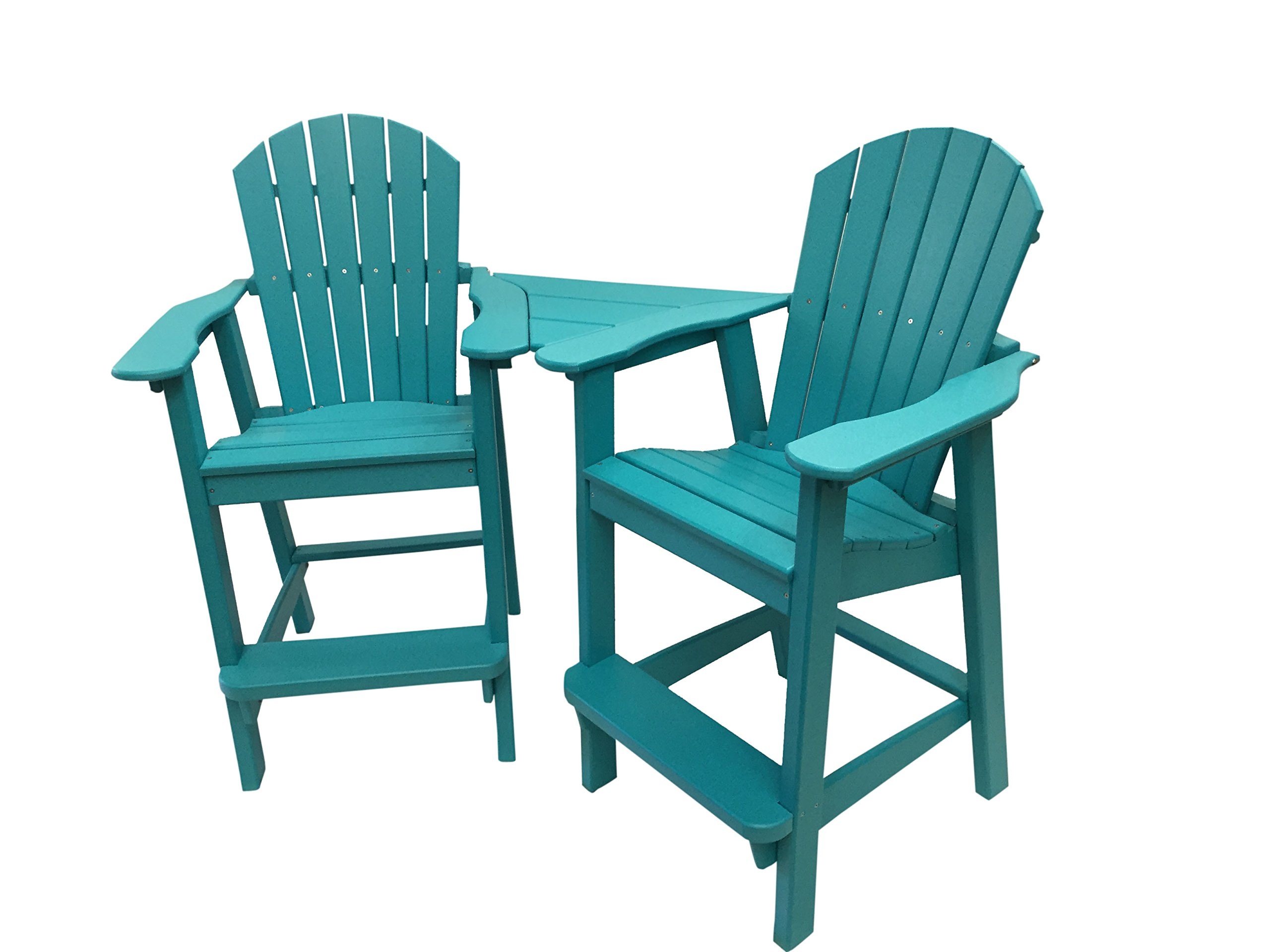 Phat Tommy Recycled Poly Resin Balcony Chair Settee – Durable and Adirondack Patio Furniture, Teal