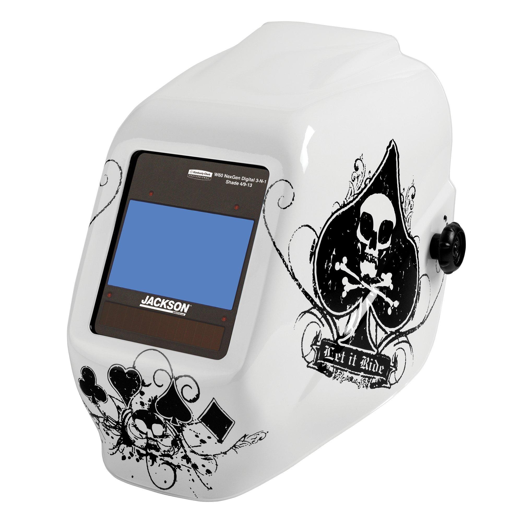 Jackson Safety TrueSight II Digital Auto Darkening Welding Helmet with Balder Technology (46164), HLX, ADF, Ace of Spades