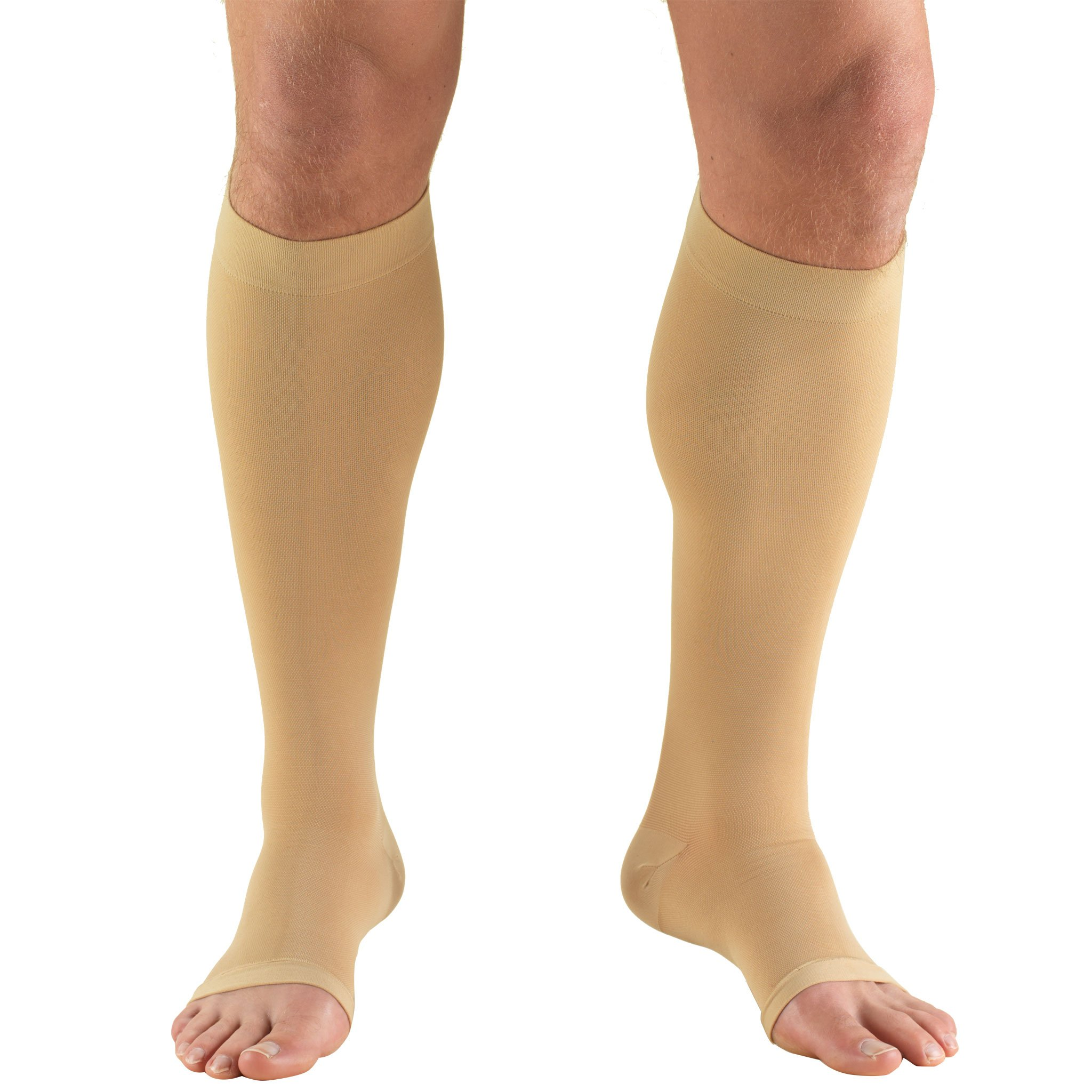 Truform 20-30 mmHg Compression Stocking for Men and Women, Knee High Length, Open Toe, Beige, Small
